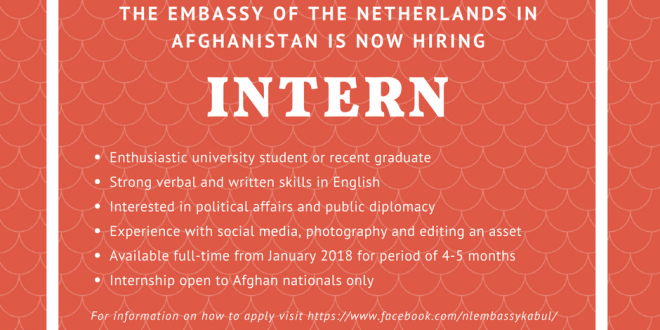 the embassy of the netherlands in afghanistan is looking to recruit an intern for a period of 4 5 months starting in january 2018